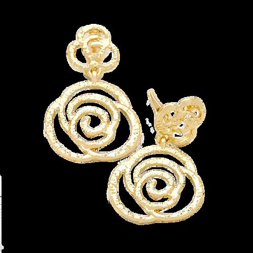 Pressed Metal Rose Clip On Earrings, Gold