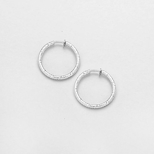 Textured Silver 3cm Clip On Hoops