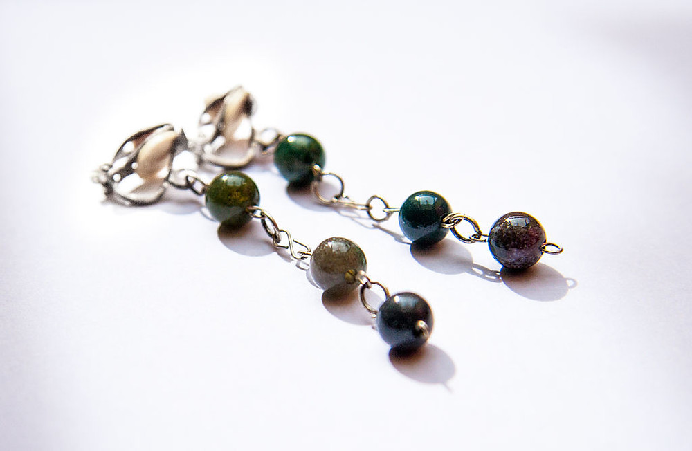 Carved Agate Ball Clip On Earrings