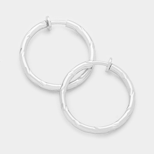 4.5cm Silver Twist Clip-On Hoops