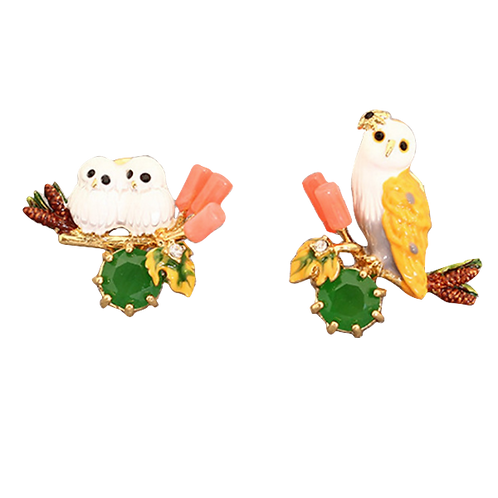 Barn Owl and Chicks Clip On Earrings