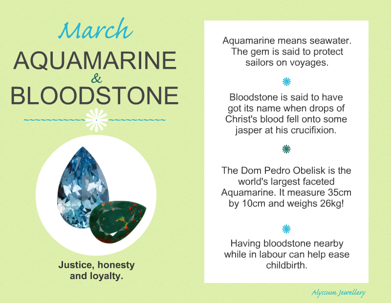 The birthstones for March, Aquamarine and Bloodstone