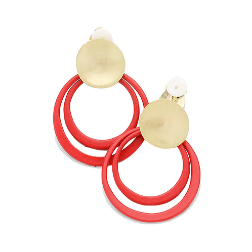 Red and Gold Double Hoop Clip-On Earrings