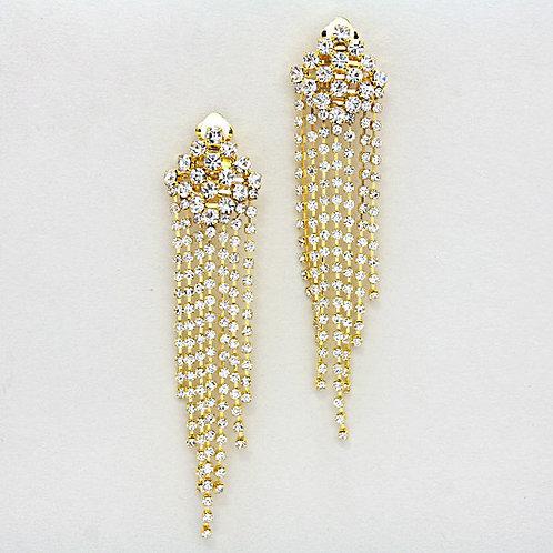 Long fringed rhinestone clip earrings, gold