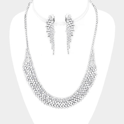 Curved Silver Rhinestone Clip Earring Necklace Set