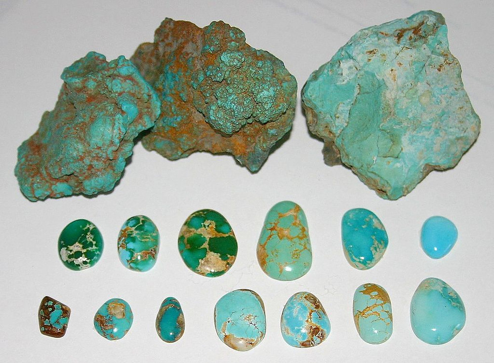 Samples of North American matrixed turquoise