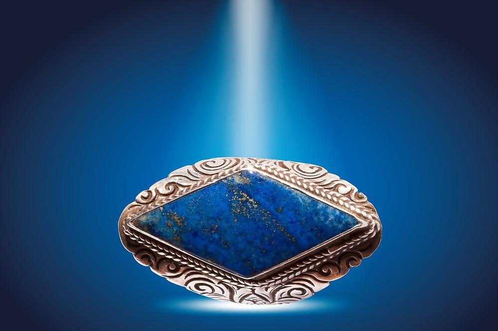 Azurite Gem Set In A Silver Ring