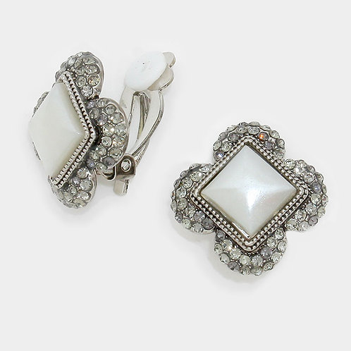 Vintage Styled Ivory Square Clip Earrings