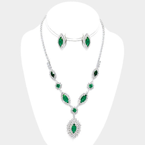 Emerald Green rhinestone necklace set with clip-on earrings