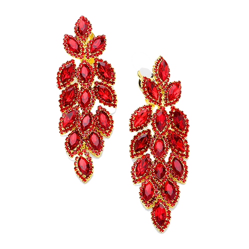 Crystal Feather Chandelier Clip Earrings, Red