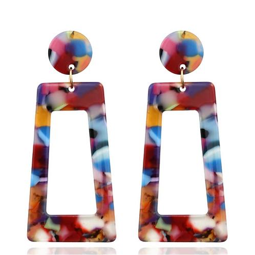 Rainbow Acrylic Retro Clip Earrings