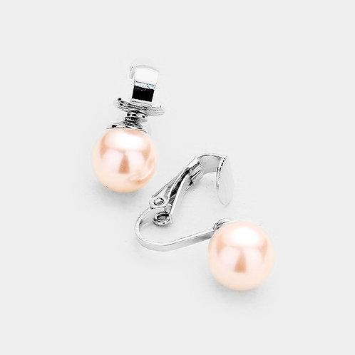 10mm Pink Faux Pearl Clip Earrings