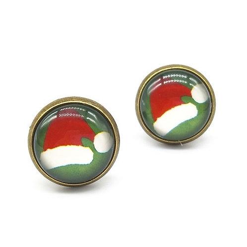 Santa Hat Clip On Button Earrings