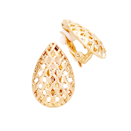 Clip-On Woven Pear Drop Earrings, Gold