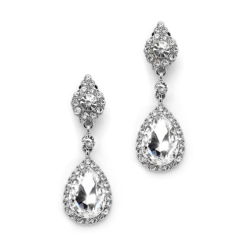Edwardian styled clear crystal clip-on bridal earrings