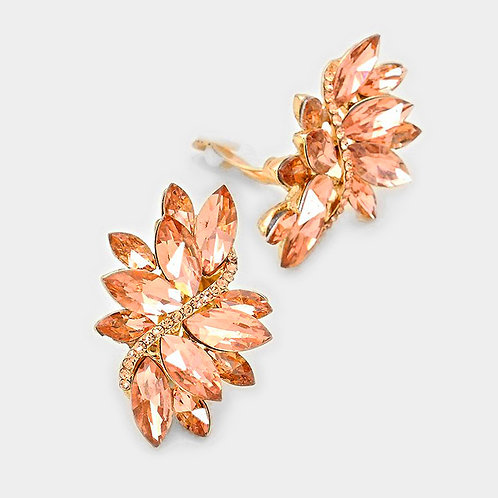 Rose Gold Marquis Swirl Clip Earrings
