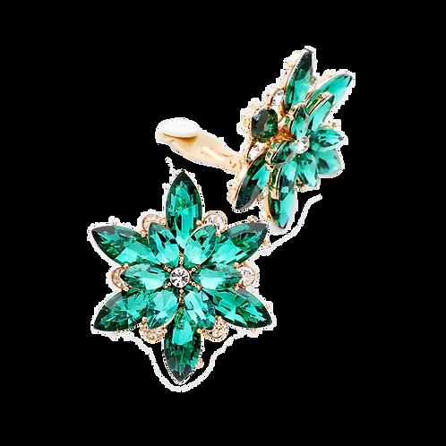 Emerald Green Flower Clip Earrings