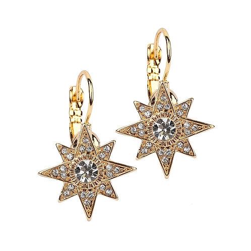 Gold star celestial lever back earrings