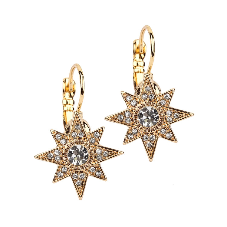 Golden Star Leverback Earrings