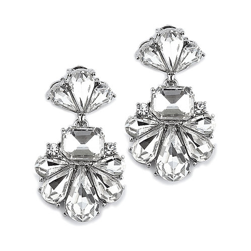 Art Deco crystal fan bridal earrings for pierced ears
