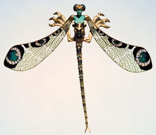 Colourful Art Nouveau Dragonfly Pin
