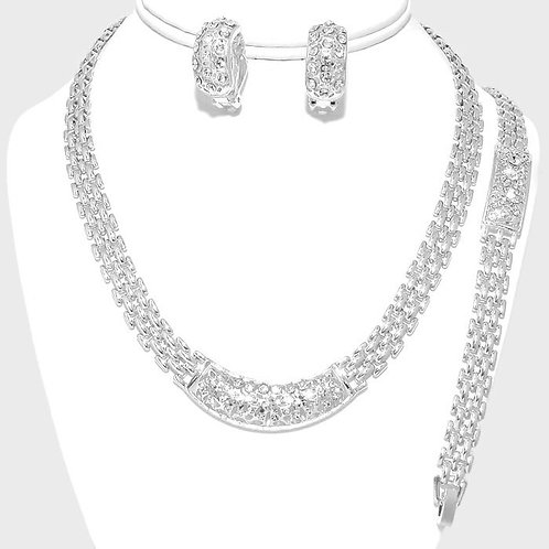 Silver tone necklace and bracelet set with clip-on earrings