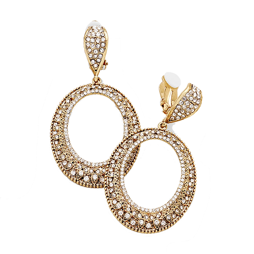 Gold Rhinestone Filigree Oval Clip-on Hoop Earrings