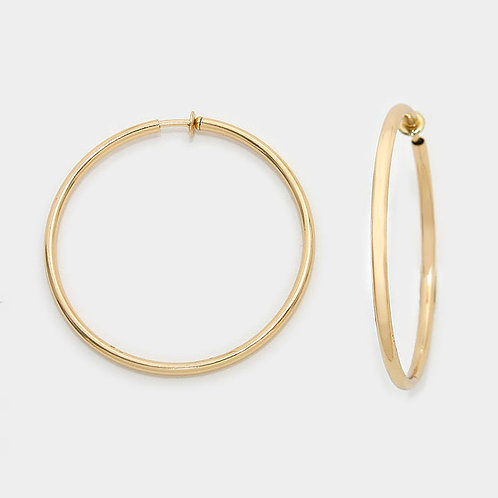 Plain gold tone spring clip-on hoops for non-pierced ears