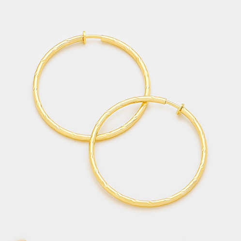 5.5cm Gold Twist Clip-On Hoops