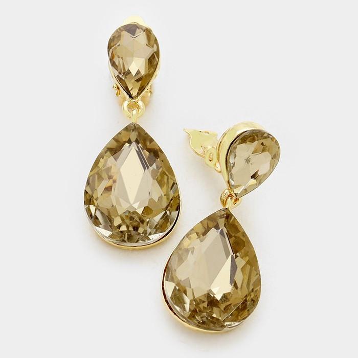 Pear Cut Gems in Alyssum Jewellery Clip On Earrings