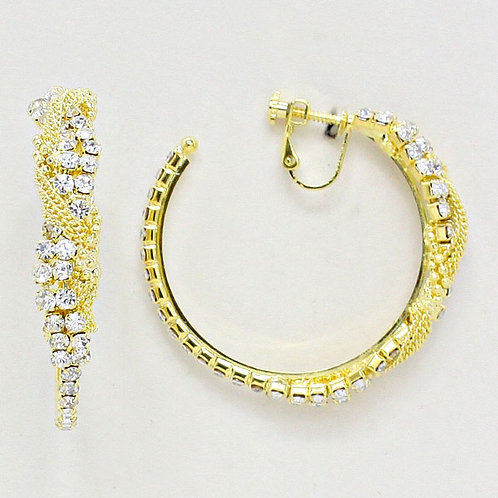 5cm Rhinestone and Chain Twist Clip On Hoop Earrings, Gold, side view