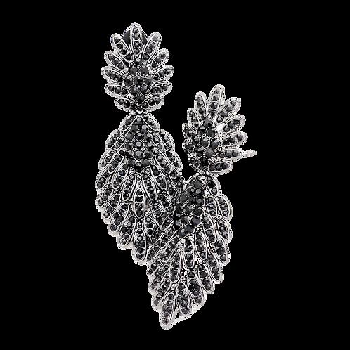 Hematite Black Leaf Drop Clip Earrings