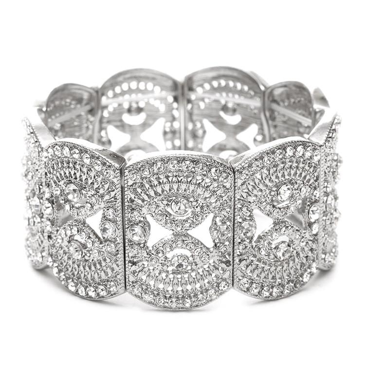 Art Deco Styled Modern Silver Cuff Bracelet