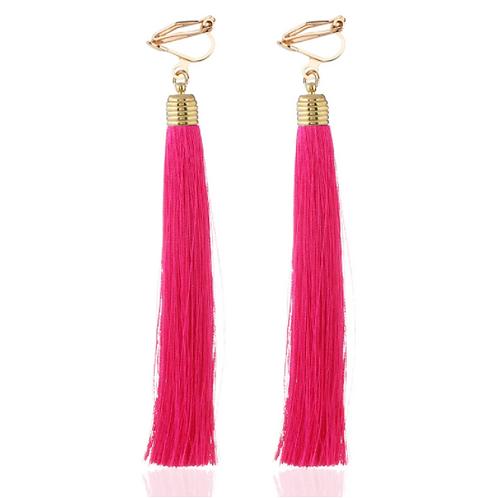 Pink Tassel Clip On Earrings