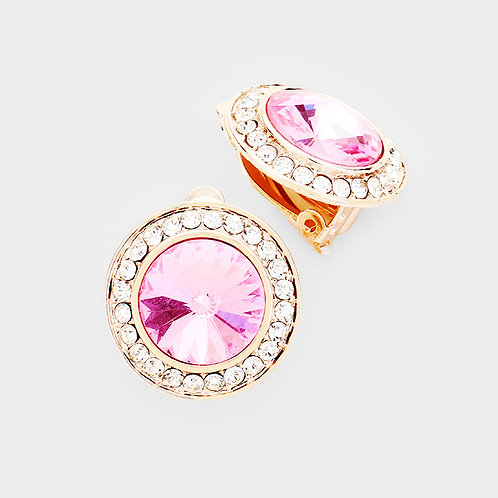 Pave Framed Pink Button Clip On Earrings