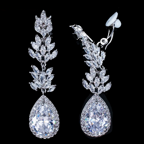 Delicate Crystal Petals CZ Drop Earrings