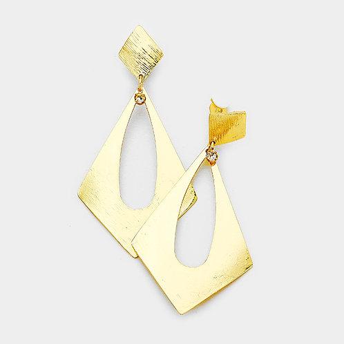 Large Open Diamond Metal Clip Earrings, Gold