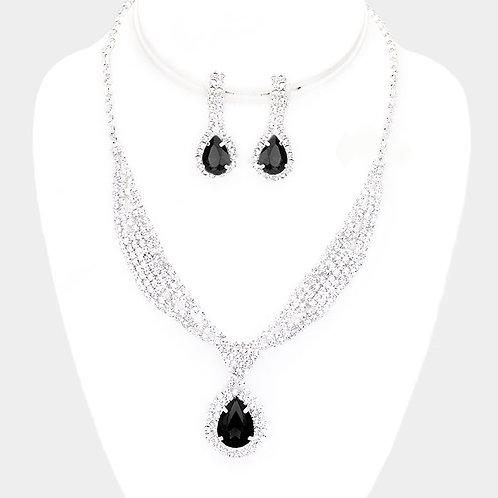 Rhinestone Sash Collar Clip Earring Necklace Set, Jet Black