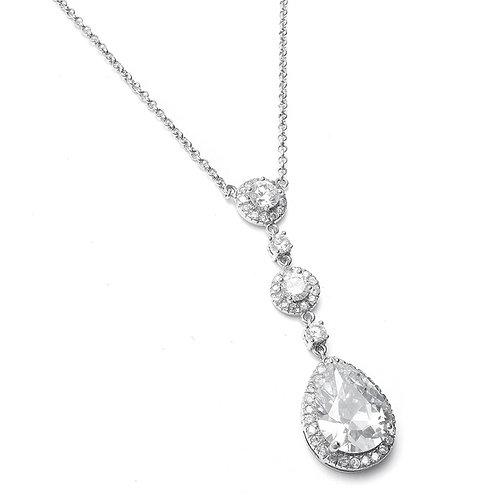 Silver crystal bridal necklace