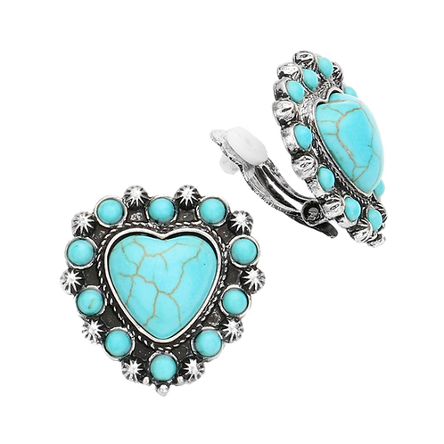 Retro Opaque Turquoise Heart Clip Earrings
