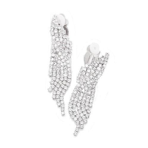 Silver Rhinestone Short Fringe Clip On Earrings