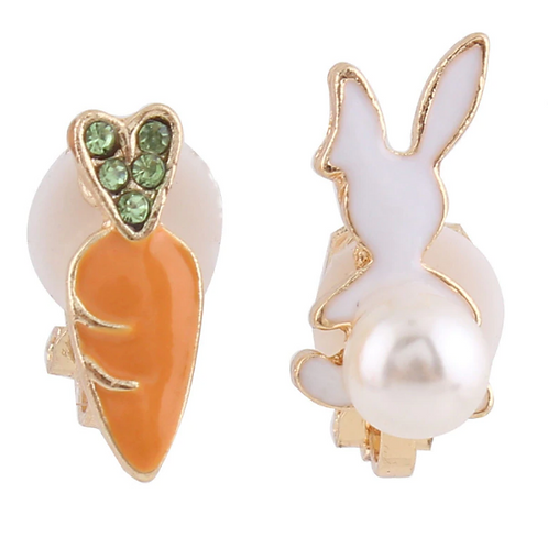 Pearl Bunny and Carrot Clip On Earrings