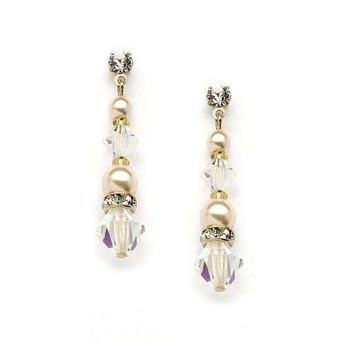Ivory pearl and gold crystal dangle earrings
