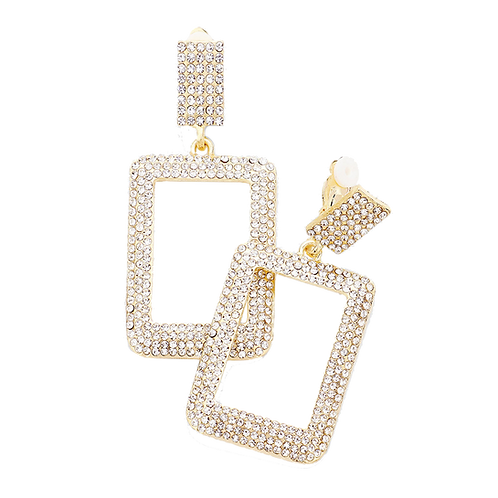 Crystal Paved Rectangle Drop Clip Earrings, Gold