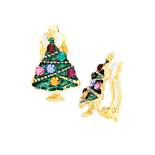 Colourful Gold Christmas Tree Clip Earrings