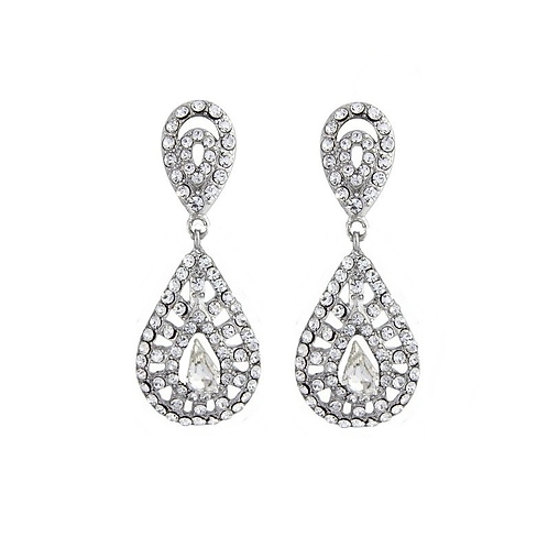 Chic crystal clip-on earrings
