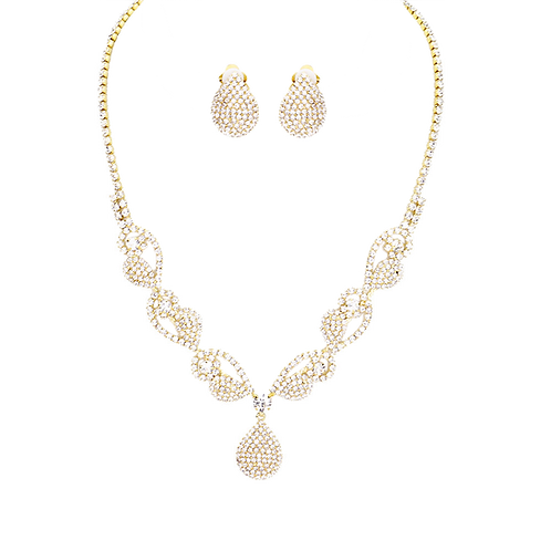 Dainty Scrolled Rhinestone Clip Earring Necklace Set, Gold