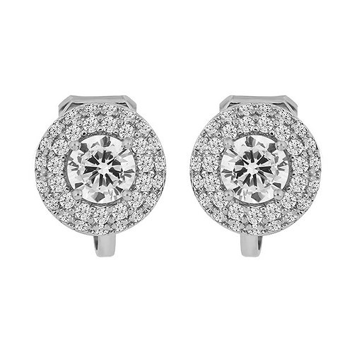 Dainty Round Crystal Rhodium Clip Earrings