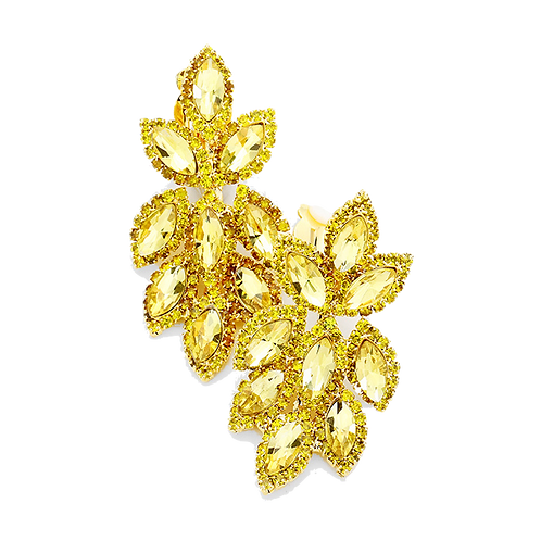 Short Crystal Feather Chandelier Clip Earrings, Yellow