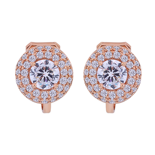 Dainty Round Crystal Gold Clip Earrings